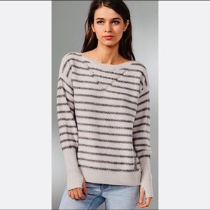Rebecca Taylor Anchor Striped Crew Sweater size M